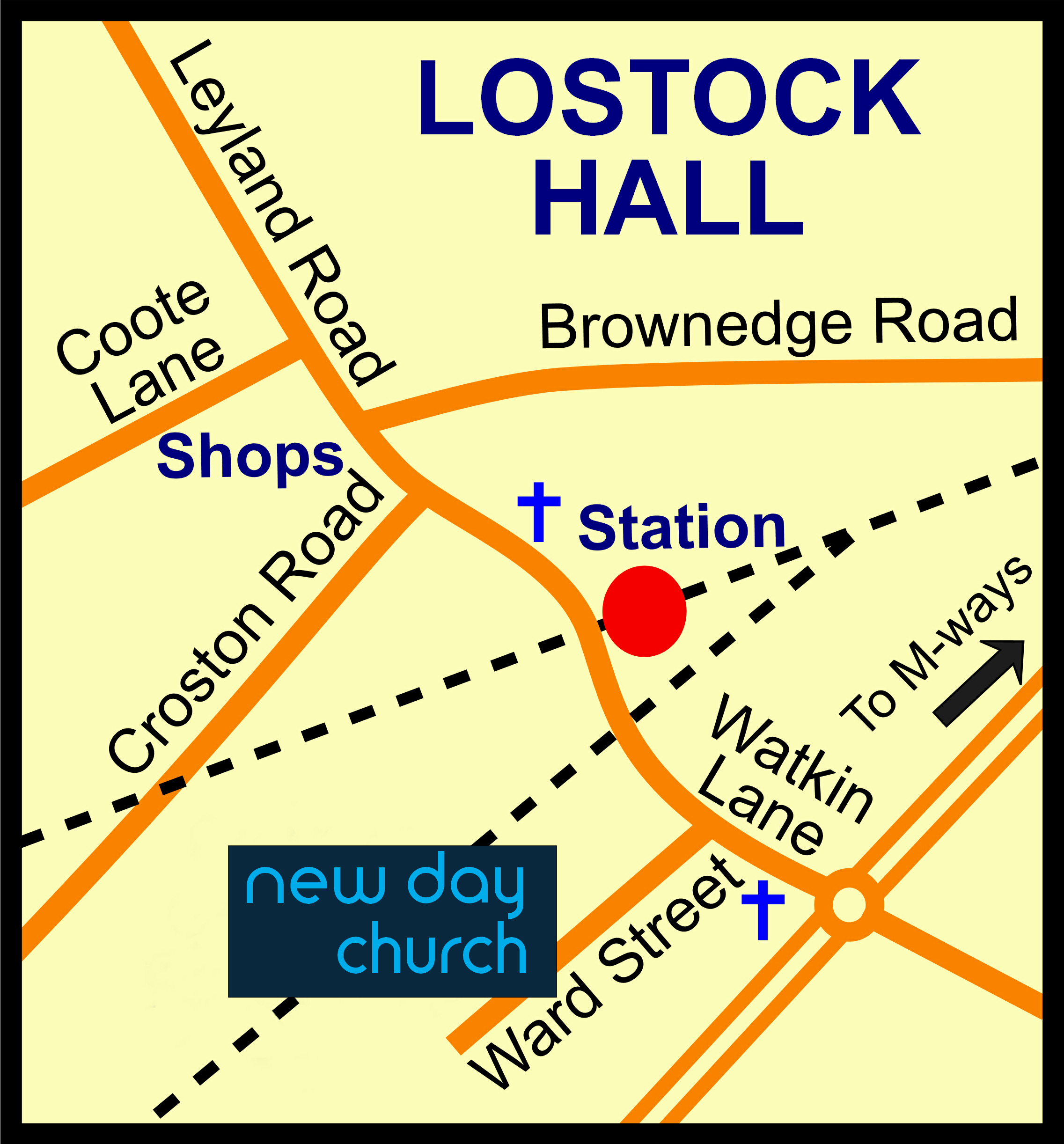 Lostock Hall Map showing New Day Church v1
